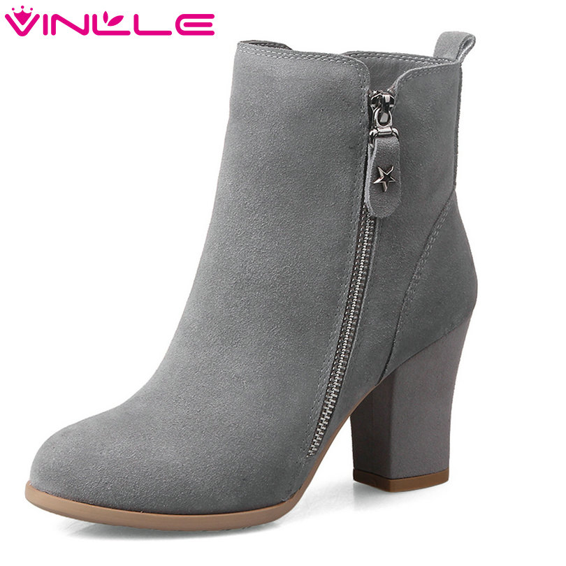 VINLLE 2018 Woman Boots Zipper Ankle Boots Square High Heel Women Shoes Pointed Toe Cow Suede Ladies Motorcycle Boots Size 34-39 vinlle 2018 women ankle boots shoes cow suede square low heel pointed toe zipper black ladies motorcycle shoes size 34 40
