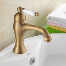 Deck mounted Antique Brass finish bathroom Faucet basin mixer tap Hot and cold water tap znf102 pull out sprayer bathroom basin faucet mixer tap ceremic handle deck mounted antique brass