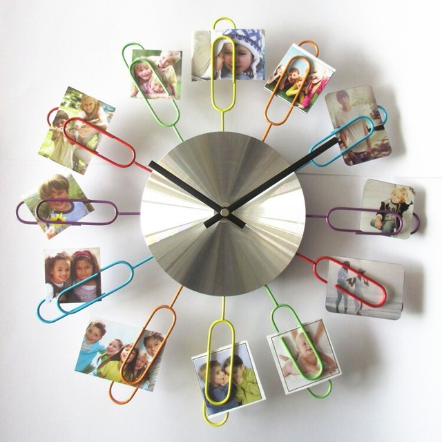 Decor Wall Clock Large 3D Decoration Wall Clock Modern Design Family Photo Frame  Clock Metal Clock