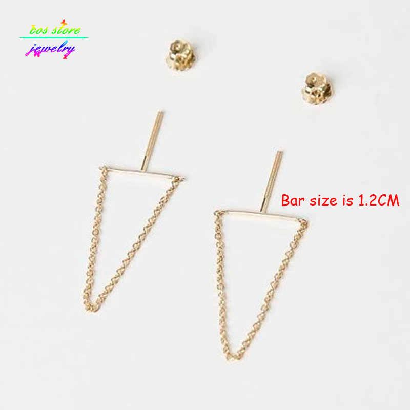 Модные серьги ювелирные изделия Новые короткие современные минималистичные серьги-гвоздики для женщин Серебряные серьги золотые длинные серьги