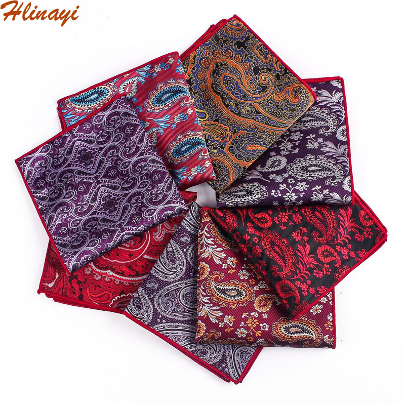Hlinayi 2019 New Men's Polyester Retro Cashew Flower Paisley Square Towel Men's Suit Handkerchief