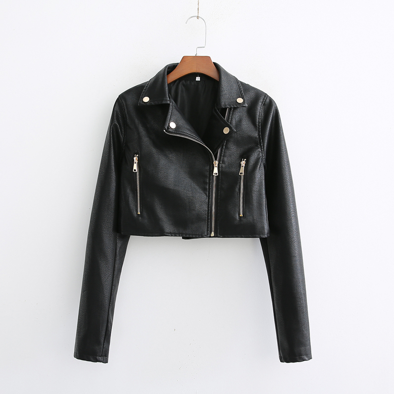 Black Motorcycle Women   Leather   Jacket 2019 Spring PU Biker Jackets Rivet Zipper Long Sleeve Crop Top Coat Casual Casaco Femme