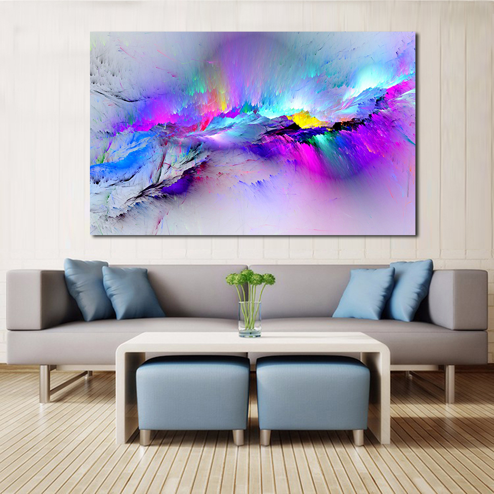 Jqhyart Wall Photos For Residing Room Summary Oil Portray Clouds Colourful Canvas Artwork Dwelling Decor No Body