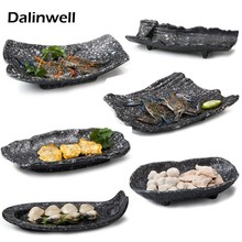 Restaurant Cooking Macedoine Special Snack BBQ Spare Imitation Ceramic Serving Container Platter Tray Dinnerware For Dining Room