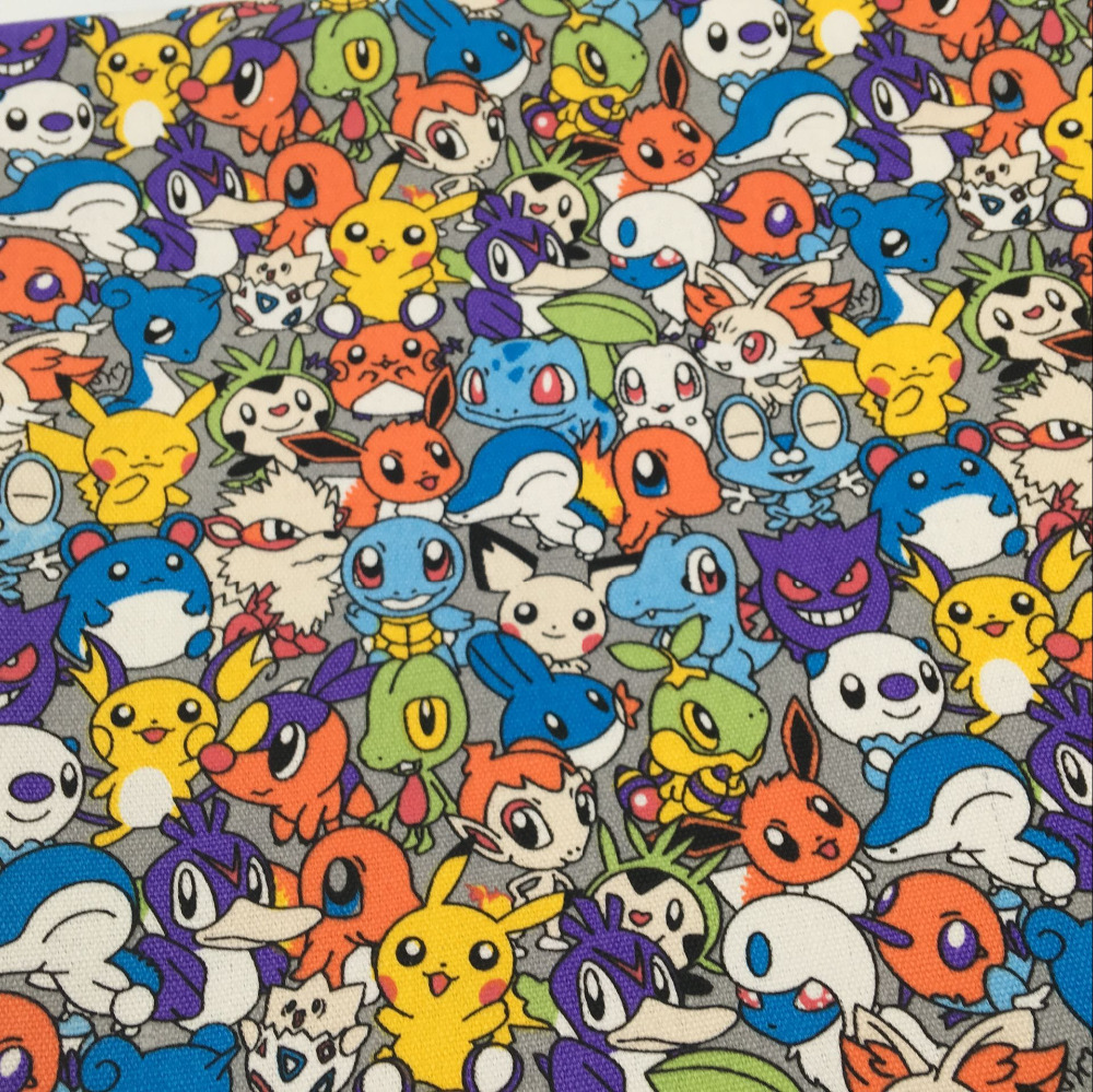 Black Pokemon Pikachu Fabric Material