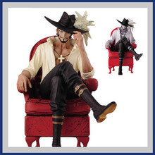 2016 Hot Sell One Piece Dracule Mihawk 15cm Anime Handsome Men Sitting Chair Hawk Eye Action Figure Toys PVC Collection Gifts