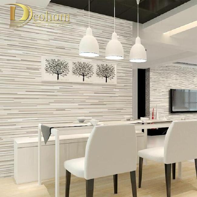 Modern Minimalis Mewah Timbul Horizontal Wallpaper Bergaris Sofa Ruang Tamu Dekorasi Dinding Desain Abu abu Garis