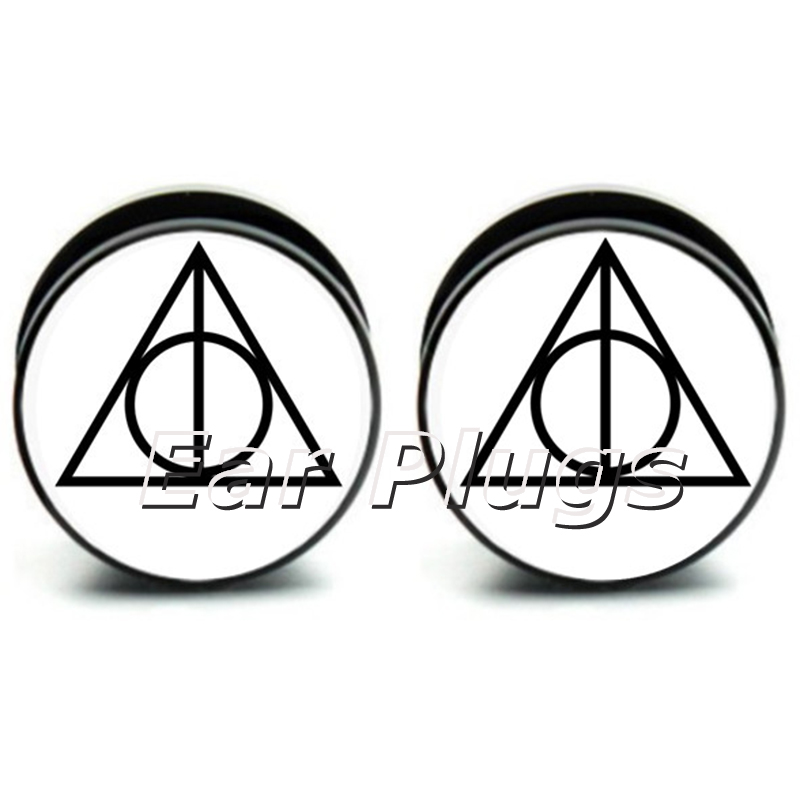 1 pair Hallows logo ear plug gauges tunnel acrylic screw flesh tunnel body piercing jewelry PAP0246