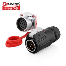 Cnlinko m24 pbt plástico 10 12 19 24 pinos ao ar livre multi núcleo ac dc ip67 à prova dip67 água conector de sinal de alimentação adaptador de fio fêmea macho