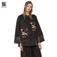 Контур женский, черный льняные блузки рубашки Винтаж шелк Лоскутная одной кнопки животных патч вышивки свободные осень топы L173Y003