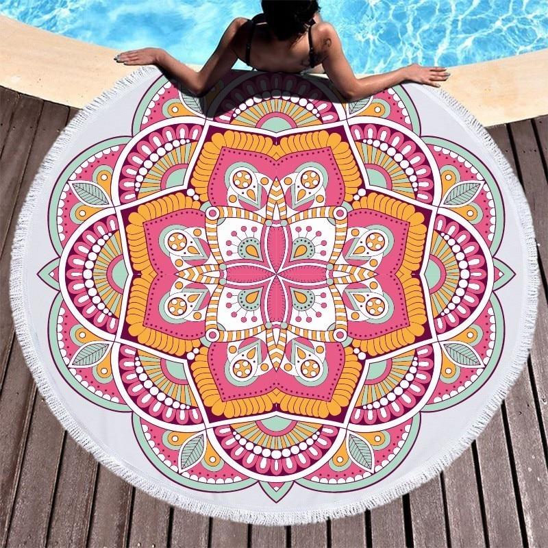 Image 3 - Lotus Mandala Printed Round Beach Towel Microfiber Towel Adults Summer Yoga Large 150cm Toalla Bath Colorful Serviette De Plage-in Bath Towels from Home & Garden