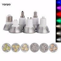 6ピース/ロット高電力e12 e27 e14 gu10 mr16 gu5.3 3ワットledスポットライトランプdc12v ac85-265v ledスポットライト電球ランプ7