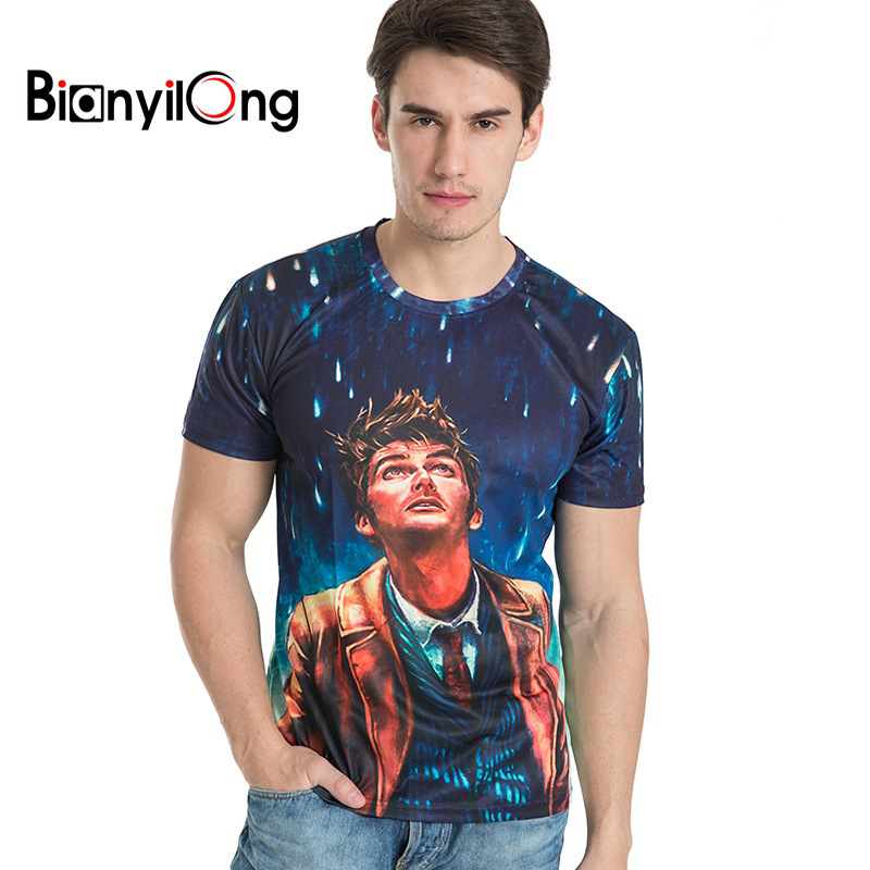 BIANYILONG Brand clothing New Fashion Men/Women Tshirts Looking up at the meteor shower  ...
