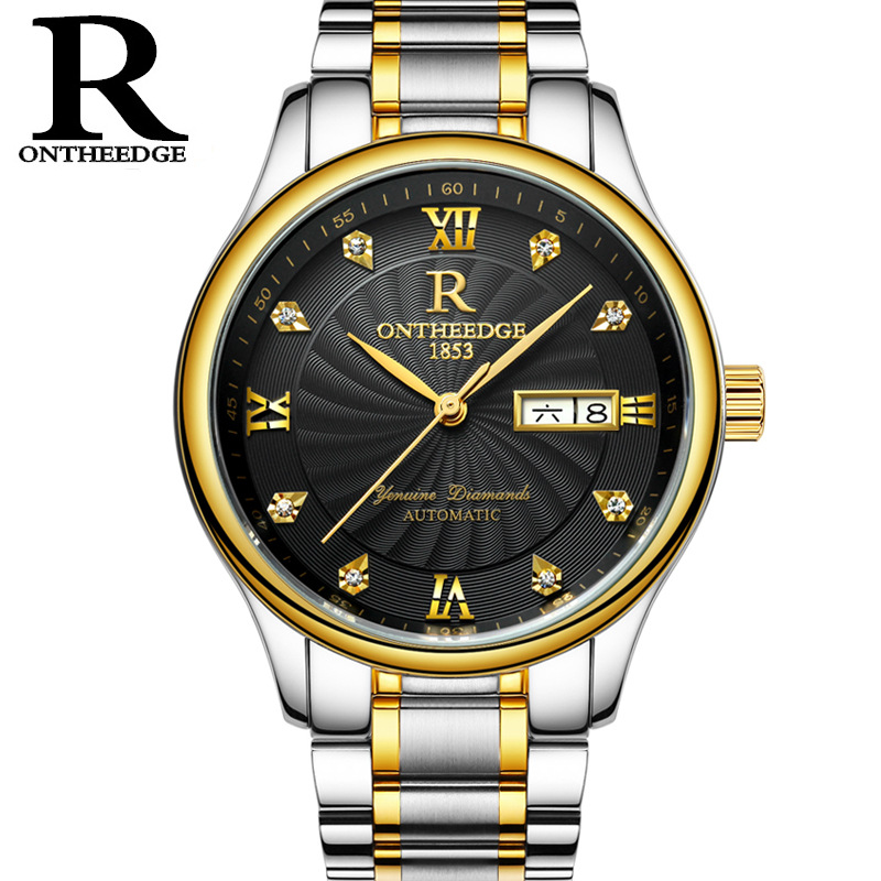 luxury mens watches Automatic Mechanical man Wristwatches business stainless steel waterproof calendar Week diamond ONTHEEDGE