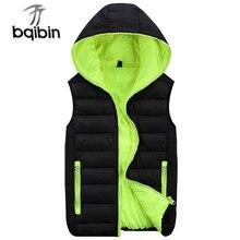Nowa jesienno zimowa kamizelka z kapturem mężczyźni odzież wierzchnia i płaszcze miłośnicy para kamizelki męskie kamizelki w stylu casual bez rękawów Plus rozmiar 4XL