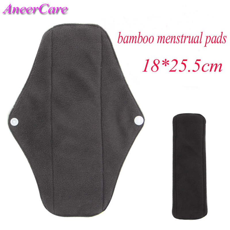 3 pcs bamboo menstrual pads 18 cm mama cloth pad reusable menstrual pads towel women hygiene washable sanitary pads absorbent