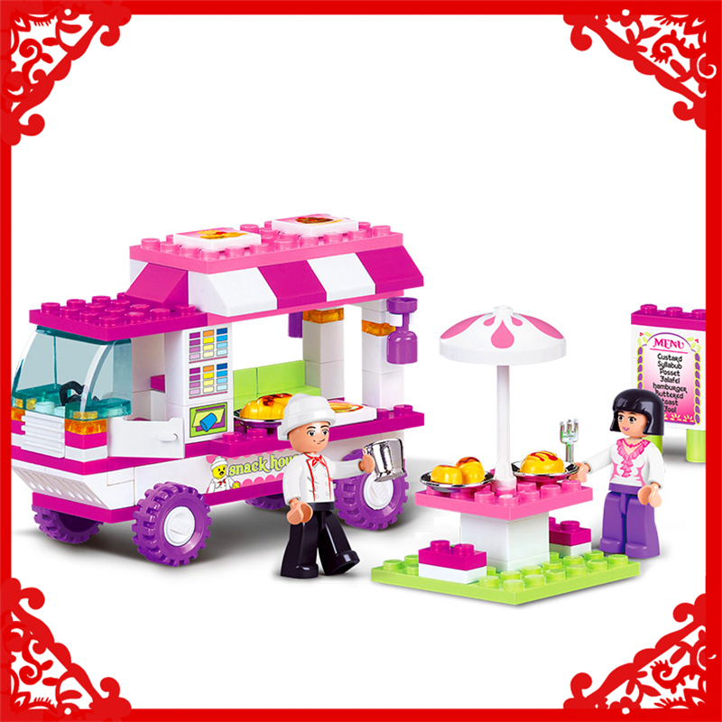 SLUBAN 0155 Block Pink Dream Snack Car Model 102Pcs DIY Educational  Building Toys Gift For Children Compatible Legoe sluban pink dream girls
