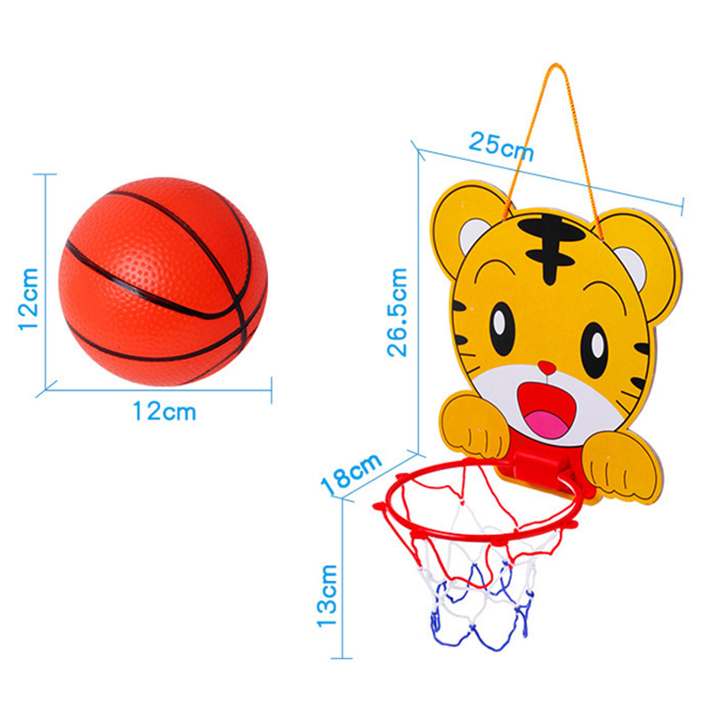 Cute Cartoon Portable Plastic Basketball Hoop Kids Toys Set Children Indoor Sports Hanging Basketball Hoop with Ball Gifts ZW11
