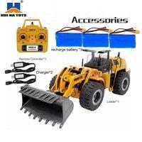HUINA 583 1583 1:14 10CH RC Metal Emulational Truck Loader Big Excavator Alloy Safe Loader Wheel RC Bulldozer Gift for Boys
