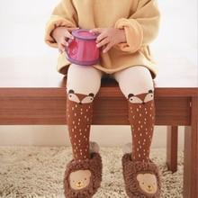 Детские колготки с изображением лисы, детские вязаные высокие колготки для девочек, носки на осень колготки для мальчика из хлопка