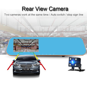 Image 4 - Jiluxing 4.3 جهاز تسجيل فيديو رقمي للسيارات نسخة ترقية 1080P شاشة تعمل باللمس كاميرا رؤية خلفية للسيارة مرآة عدسة مزدوجة مسجل فيديو داش كام