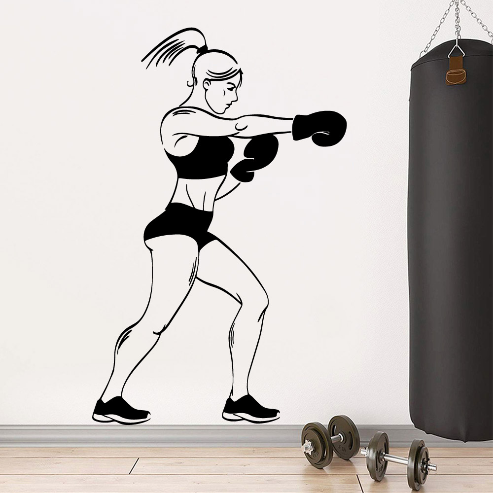 Funny boxing woman Vinyl Wallpaper Roll Furniture Decorative For Living Room Kids Waterproof Wall Art Decal