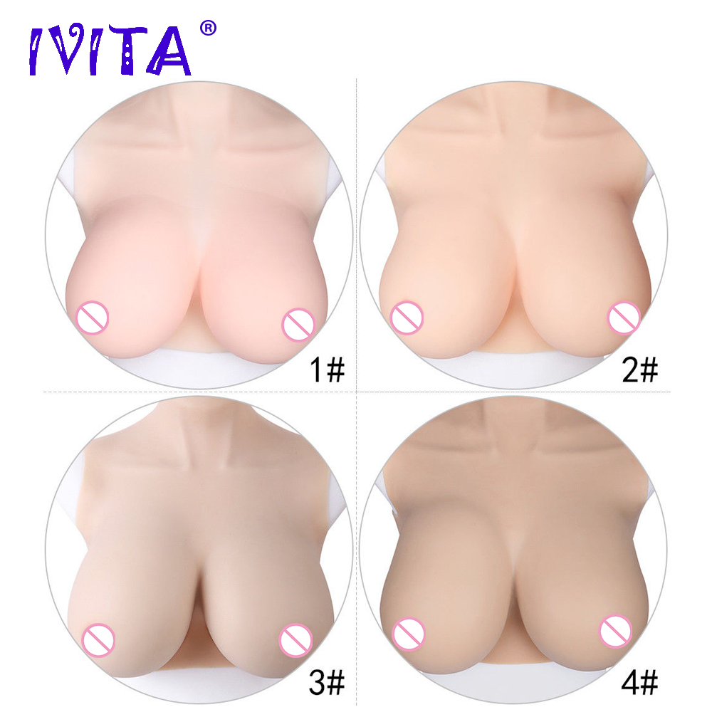 IVITA Artificial Silicone Breast Form False Fake Boobs For Crossdresser Transgender Shemale Drag Queen Enhancer Fashion Gift