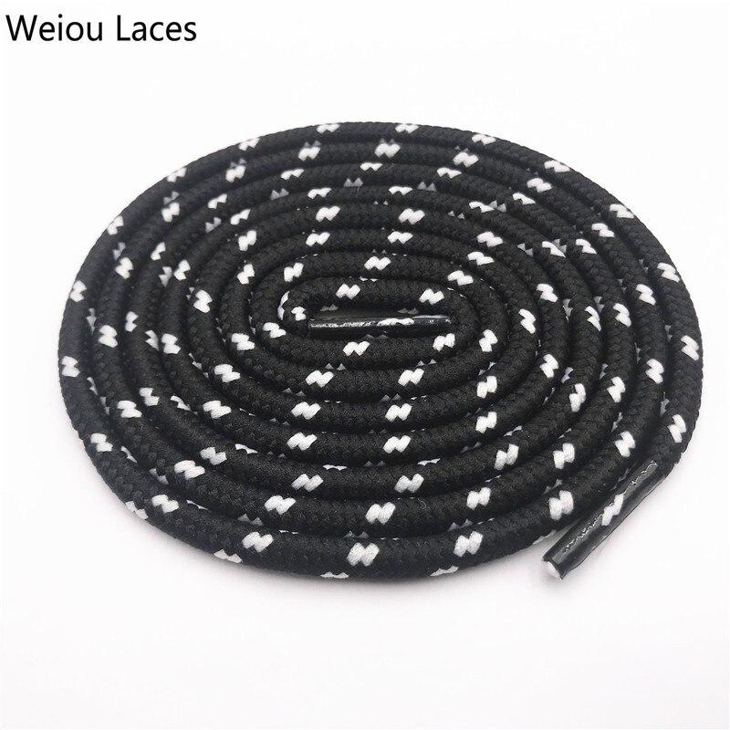 Weiou 0,45 см круглые полосатые спортивные кружевные черно-белые шнурки, толстые круглые шнурки в горошек, походные шнурки для дорки, обувь для папы, кроссовки - Цвет: 2541Black-White