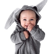 Newborn Infant Baby Girl Boy Clothes Cute 3D Bunny Ear Romper Jumpsuit Playsuit Rompers цена и фото