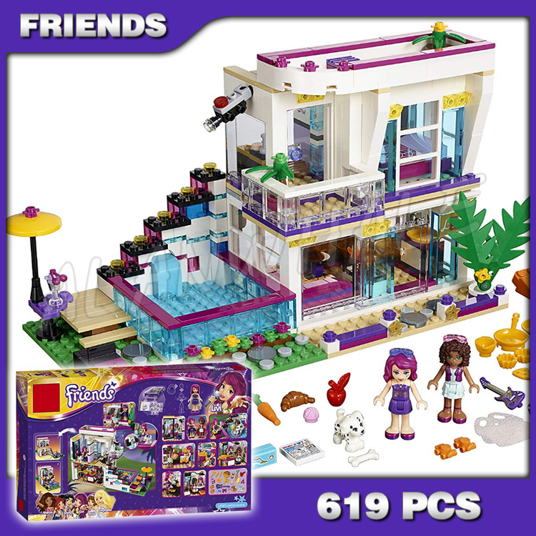 619pcs Friends Livi's Pop Super Star House Mixed <font><b>10498</b></font> Model Building Brick Blocks Children Sets Kids Toys Compatible with Lago image
