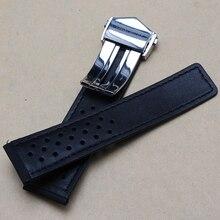 22 mm ( Buckle 20 mm ) alta calidad hebilla desplegable Watch suave suave genuino cuero negro nuevo reloj bandas correa especial