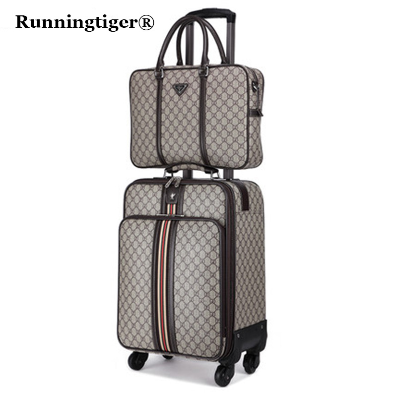 цена на 2PCS 162022 Luggage Suitcase bag,Waterproof PU leather Travel Box with Wheel ,Rolling Trolley case Luggage Business suitcase