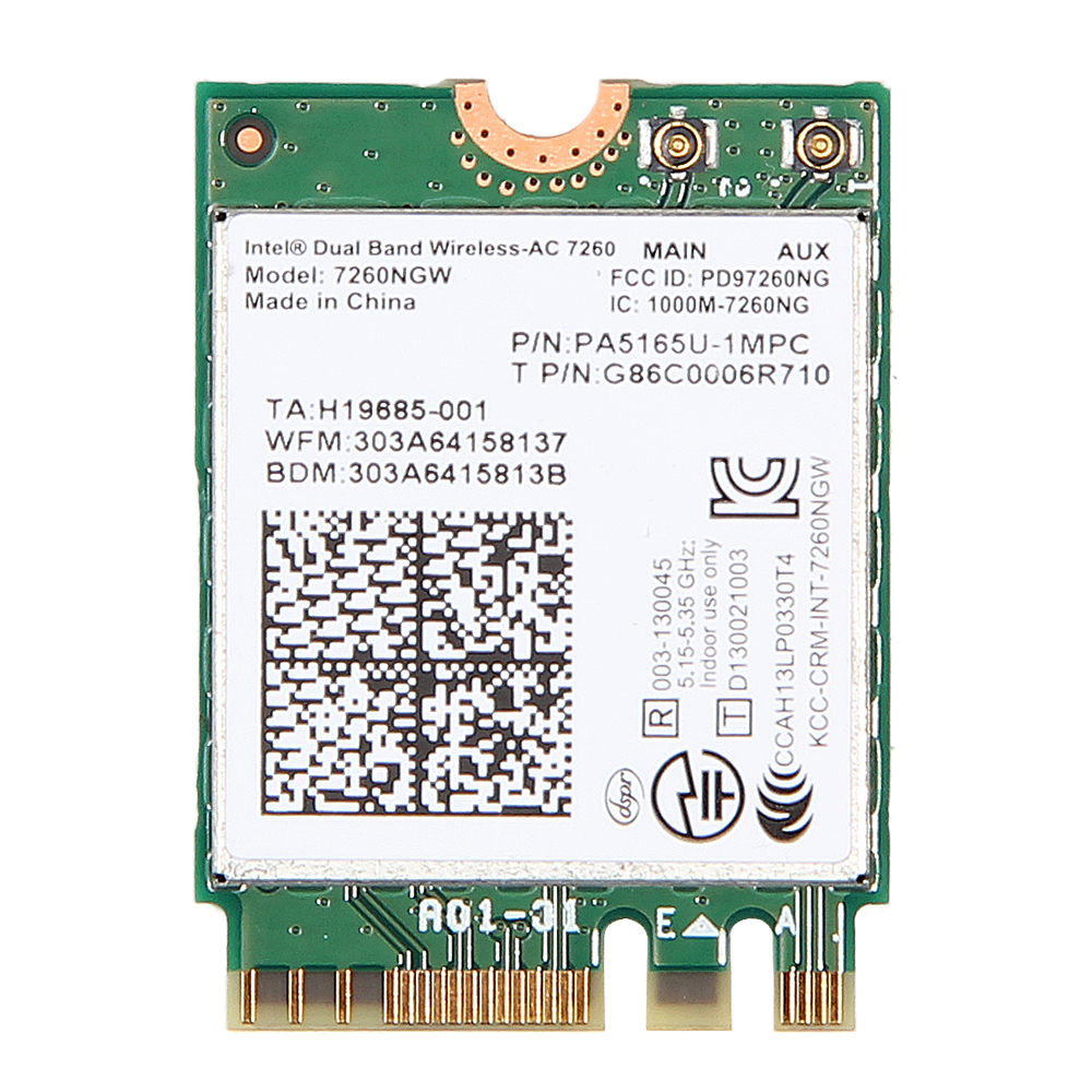 Dual Band AC1200 Wlan For Intel 7260NGW Wireless-AC 7260 M.2 NGFF 2.4G/5Ghz 802.11ac 2x2 Wifi Bluetooth 4.0 Network Mini Card