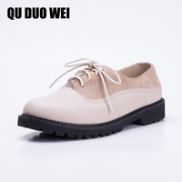 QUDUOWEI Women S Oxford Shoes Sheepskin Genuine Leather Round Toe Patchwork Women S Shoes Flats Spring