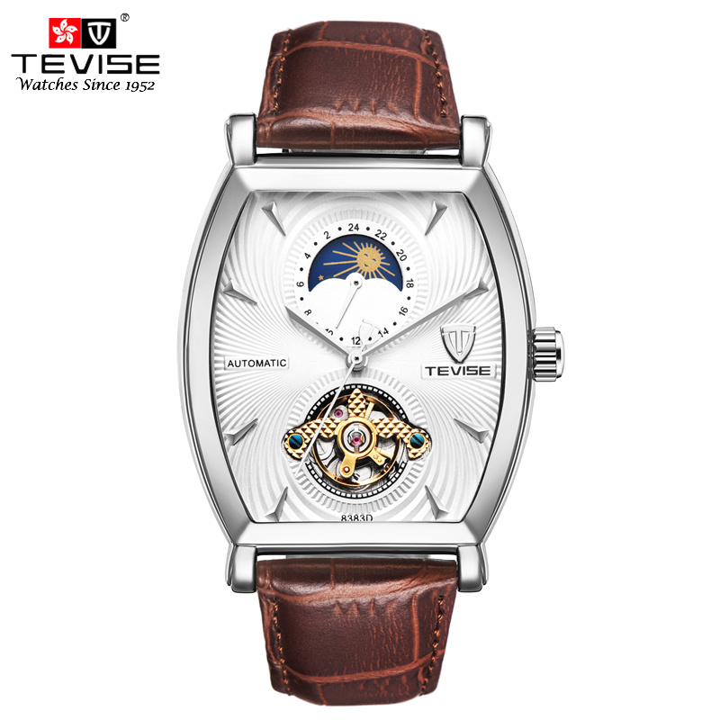 Tevise Mens Mechanical Watch Automatic Self-Wind Leather Moon Phase Tourbillon 24 Claco Hours Skeleton Luxury Wristwatches 8383D tevise men automatic self wind mechanical wristwatches business stainless steel moon phase tourbillon luxury watch clock t805d