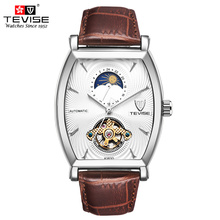 Tevise Mens Mechanical Watch Automatic Self-Wind Leather Moon Phase Tourbillon 24 Claco Hours Skeleton Luxury Wristwatches 8383D все цены