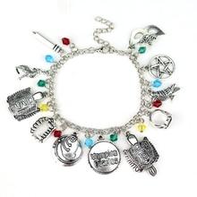 The Vampire Diaries Inspired Charm Bracelet Elena Stefan Damon Fandom Gift For Women Pulseira Masculina With Crystal Beads