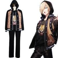 Nouveau Anime Yuri Sur Ice Yuuri Plisetsky Quotidienne Costume Tiger Head Chemise Veste Japonais Équipe Uniforme Cosplay Costume Pour Halloween