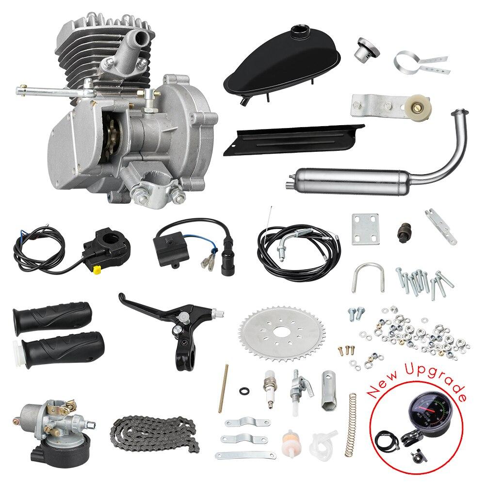 80CC Motorisierte Fahrrad Motor-Kit, Fahrrad Umwandlung Gas Benzin Motor Komplette Kit, Mit Mechanische Speedmeter, 2-hub 1 Zylinder