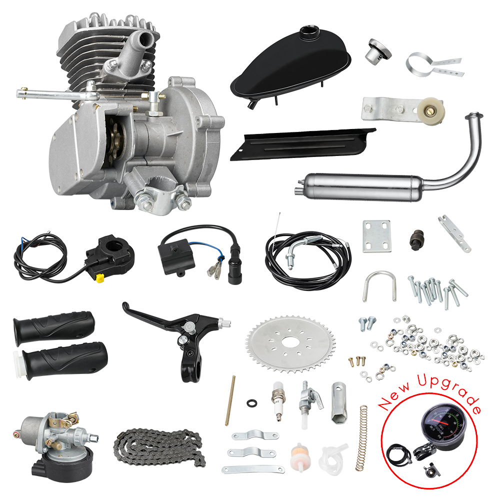 80CC Motorized Bike Engine Kit, Bicycle Conversion Gas Petrol Motor Complete Kit, With Mechanical Speedmeter, 2-Stroke 1Cylinder