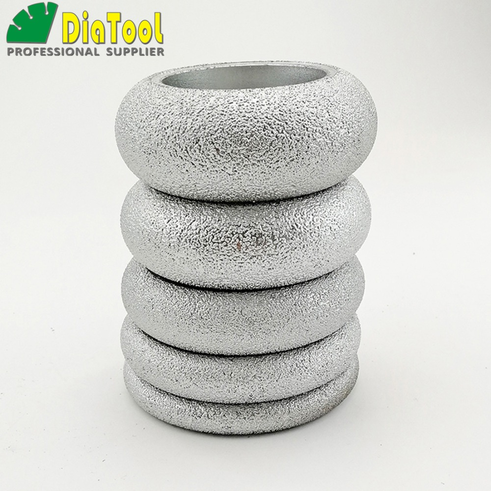 DIATOOL Dia 3 Inches Vacuum Brazed Diamond CONVEX Wheel Grinding Disc Diamond Height 10/15/20/25/30MM available Used Dry or Wet 2pcs dia 125mmx10mm vacuum brazed diamond grinding wheel dia 5 beveling wheel flat for marble granite artificial concrete stone