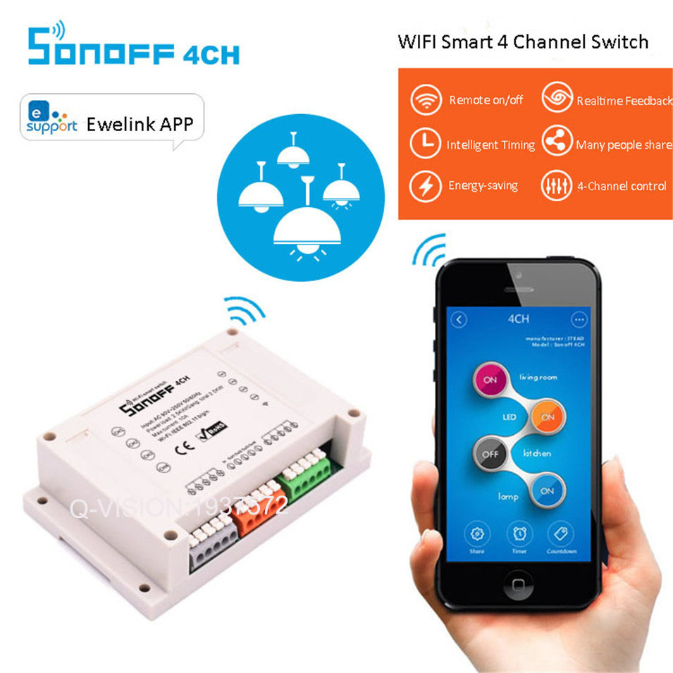 Sonoff 4CH Smart Home WiFi Switch 4 Gang Wireless Switches Din Rail Mounting Home Automation on/off Phone Remote 10A/2200W sonoff smart wifi switch 4 gang 4ch wireless switches din rail mounting home automation on off phone remote control 10a 2200w