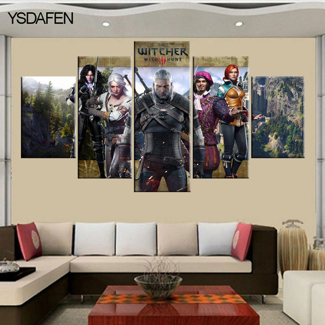 5 Pieces Set Printed Witcher 3 Wild Hunt Canvas Painting Room Decoration  Print Poster Picture Printed