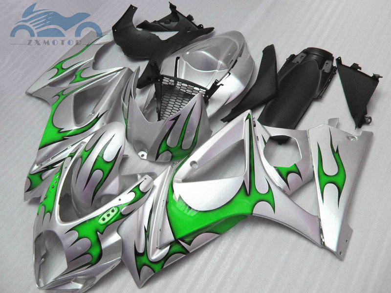 Upgrade full set Fairing <font><b>kits</b></font> for <font><b>Suzuki</b></font> GSXR 1000 2007 2008 K7 <font><b>K8</b></font> ABS motorcycle fairings <font><b>kit</b></font> <font><b>GSXR1000</b></font> 07 08 green flames image