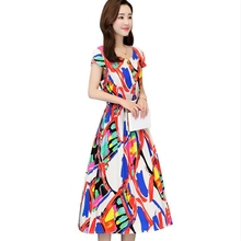 summer new women plus fertilizer in the code long paragraph dress woman plant flower printing cotton