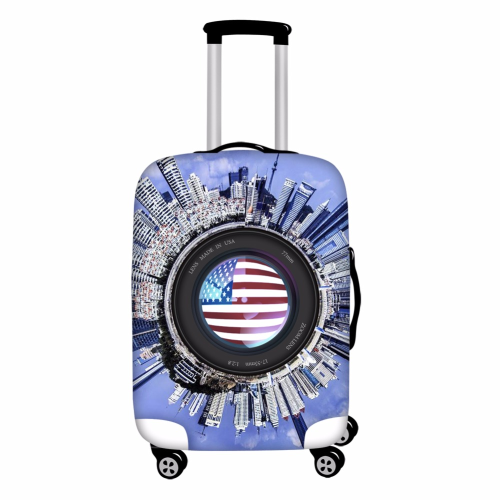 FORUDESIGNS Cool USA Camera Print Luggage Cover Protector Dogs Flags Elastic 18-28 inch Trolley Travel Suitcase Cover Wholesale