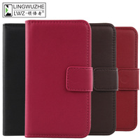 LINGWUZHE Solid Color Genuine Leather Cell Phone Case Wallet Cover For Ulefone Mix 2 5 7