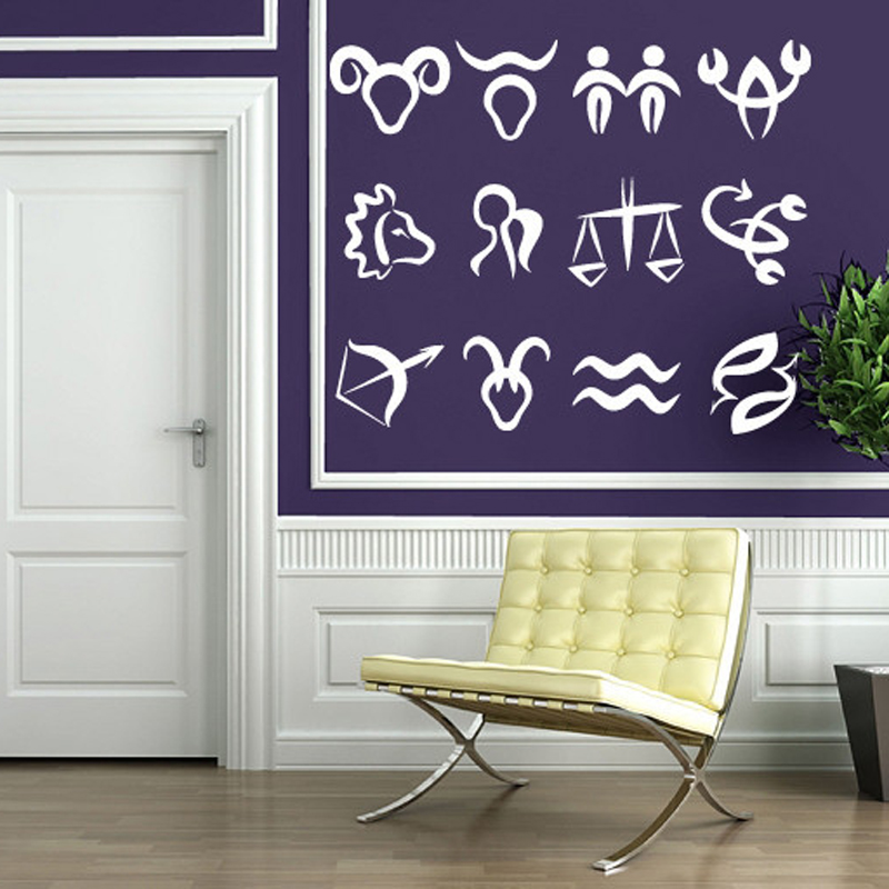 Vinyl Wall Stickers Astronomy Science Symbols Zodiac Signs In Order