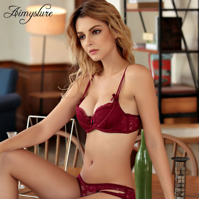 42a85c8dc30a8 Sexy Red Push Up Bra Set Lace Ultra thin Soft Cotton Cup lingerie Set  Plunge Woman Underwear Deep V Brassiere Set. 1 order
