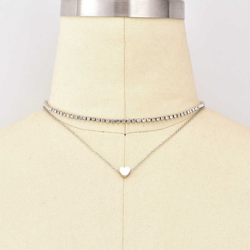 Новое ожерелье женское модное колье с сердечками двойная золотая цепочка с декоративным кристаллом любовь эффектное ожерелье Джокер Персонаж оптовая продажа